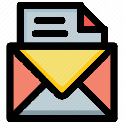 correspondence, email, inbox, letter envelope, message icon
