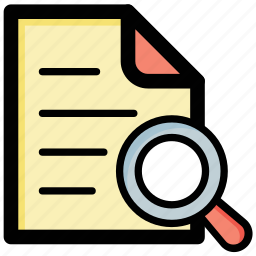 data search, document magnifying, document review, document tracking, search document icon
