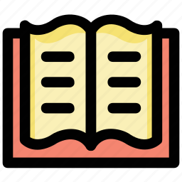 encyclopedia, knowledge, library, open book, reading icon