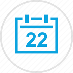 bell, month, number, schedule, twenty, two icon