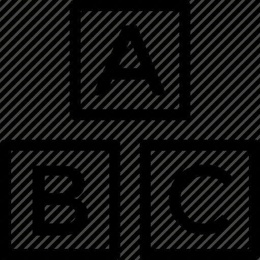 abc, alphabet blocks, blocks, english, kindergarten icon