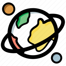 earth, planet, saturn, solar system, universe icon