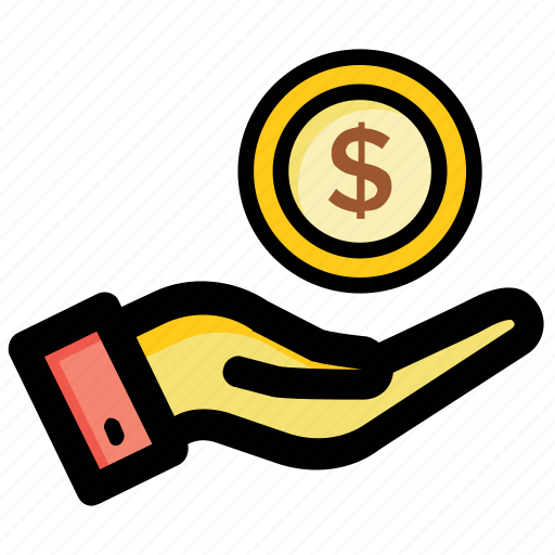cash in hand, currency, dollar, money, payment icon