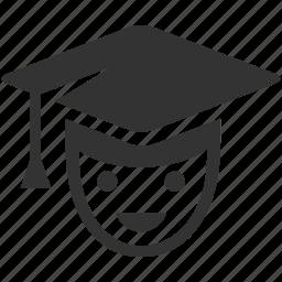 boy, diploma, face, graduate, human, learn, school, student icon