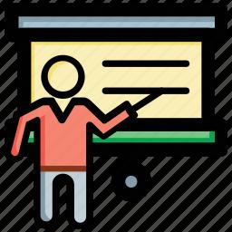 blackboard, classroom, presentation, teacher, whiteboard icon