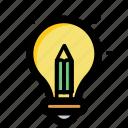 bright ideas, bulb pencil, ideas inspiration, innovation, splash pencil icon