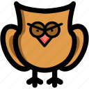 bird, intelligence, owl, wisdom, wise owl icon