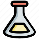 chemical flask, conical flask, flask, lab research, laboratory glassware icon