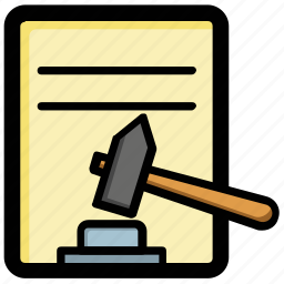 auction agreement, bidder agreement, court order, law, proclamation icon