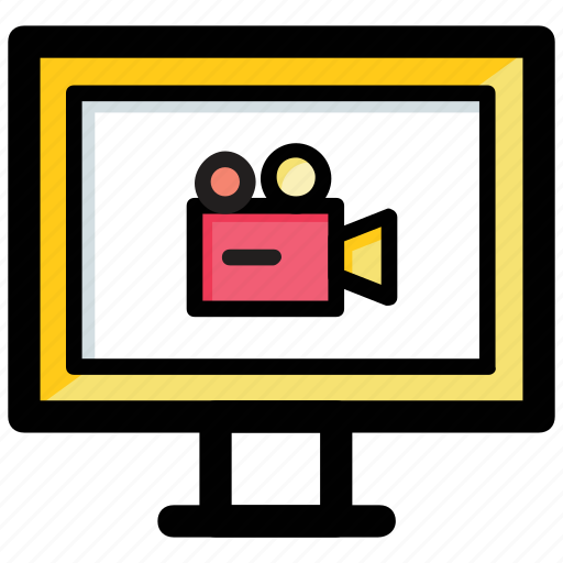 multimedia, online video, video conference, video marketing, video recording icon