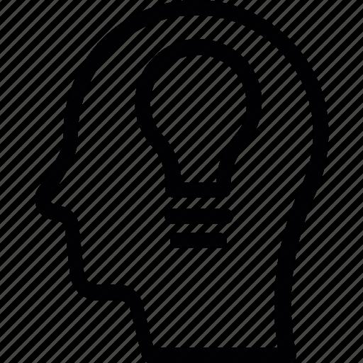 bulb, creative, head, idea, mind icon