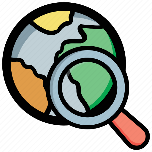 global search, globe magnifying, internet, online search, planet discovery icon