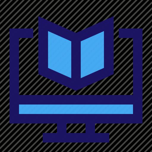 e, learning, screen, webinar icon