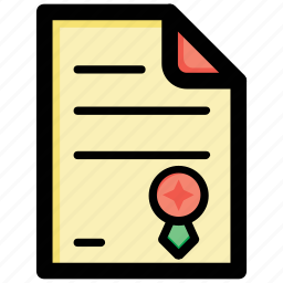 certificate, degree, diploma, licence, school certificate icon
