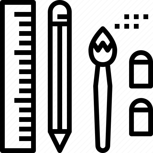 brush, eraser, pencil, rubber, ruler, stationery icon