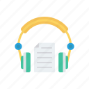 document, headphone, headset, support icon