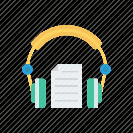 document, headphone, headset, support icon