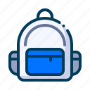 backpack, bag, education, learning, rucksack, school, student icon
