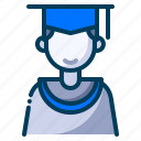boy student, education, graduation, learning, mortarboard, school, student icon