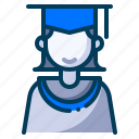 education, girl student, graduation, learning, mortarboard, school, student icon
