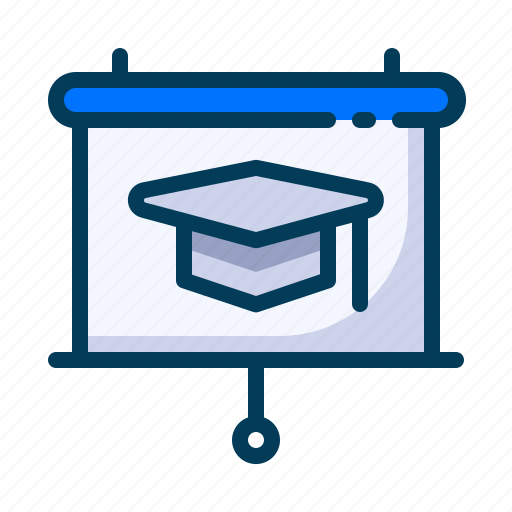 education, learning, presentation, projector, school, screen, student icon