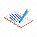 isometric, school, note, pen, notebook, paper, page