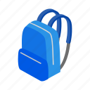 isometric, baggage, backpack, rucksack, school, bag, education
