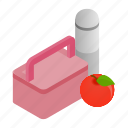 box, container, food, healthy, isometric, lunch, school icon