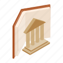 isometric, ancient, art, column, element, greek, book