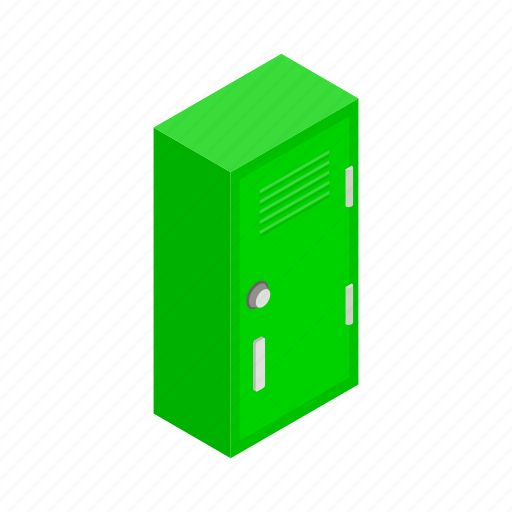 isometric, lock, locker, metal, school, security, storage icon