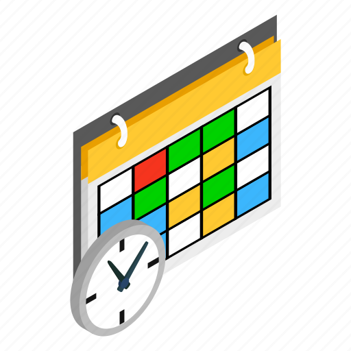 education, isometric, plan, schedule, school, time, timetable icon