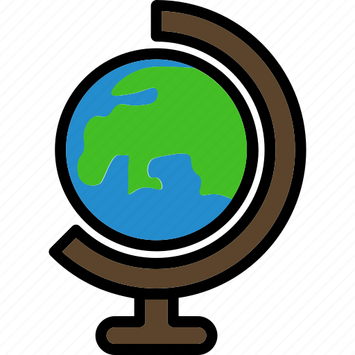 continents, geography, globe, school, world icon