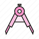 compass, stationery, tool icon