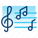 education, learning, music, note, school, sound, student icon