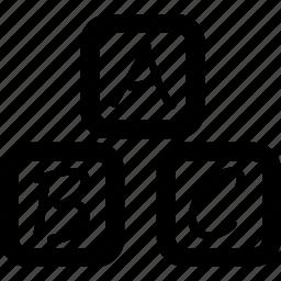 alphabets, blocks, cubes icon