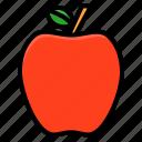 apple, education, fresh, fruit, school