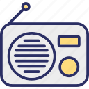 old radio, radio, radio antenna, radio set icon