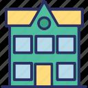bank, building, home, school icon