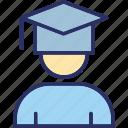 graduate, graduate student, postgraduate, student icon