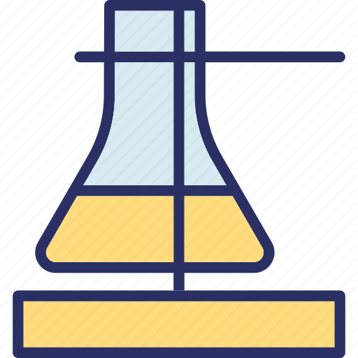 conical flask, flask, flask stand, lab experiment icon