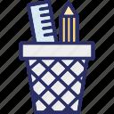 geometry box, pencil box, pencil case, pencil pot icon