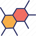 atom, electron, hexagons, molecule icon