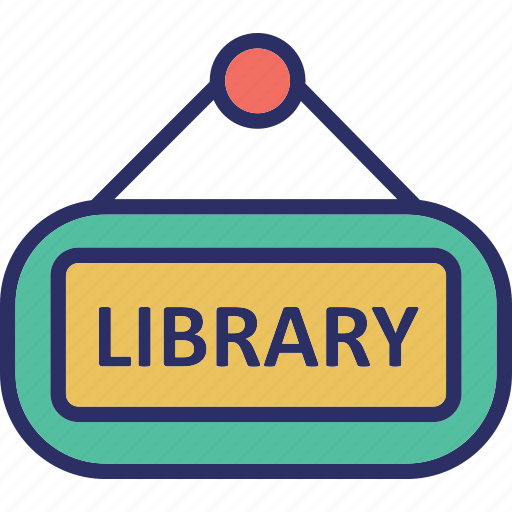 hanging sign, library, library signboard, school library icon