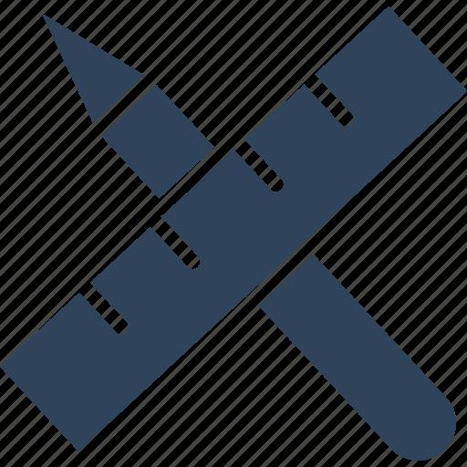 geometrical tools, measuring, pencil, ruler icon