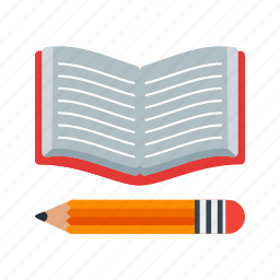 book, education, paper, pencil, stationery, study icon