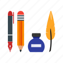 artist, artistic, equipment, pen, pencil, school, writing icon