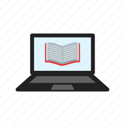 book, computer, education, laptop, learning, library, online icon