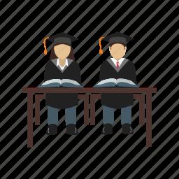 education, graduation, school, sitting, student, uniform icon