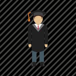 education, graduation, school, standing, student, uniform icon