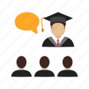 college, education, hall, lecture, teacher, university, workshop icon